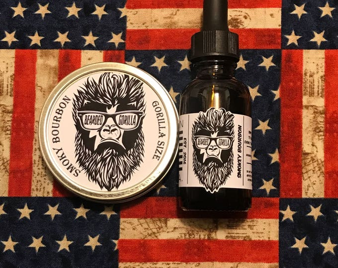 Featured listing image: Smoky Bourbon Scented All Natural Moisturizer Beard Balm & Oil Set, Bearded Man Gift, Father's Day Gift, Mens Beard Products-GORILLA SIZE