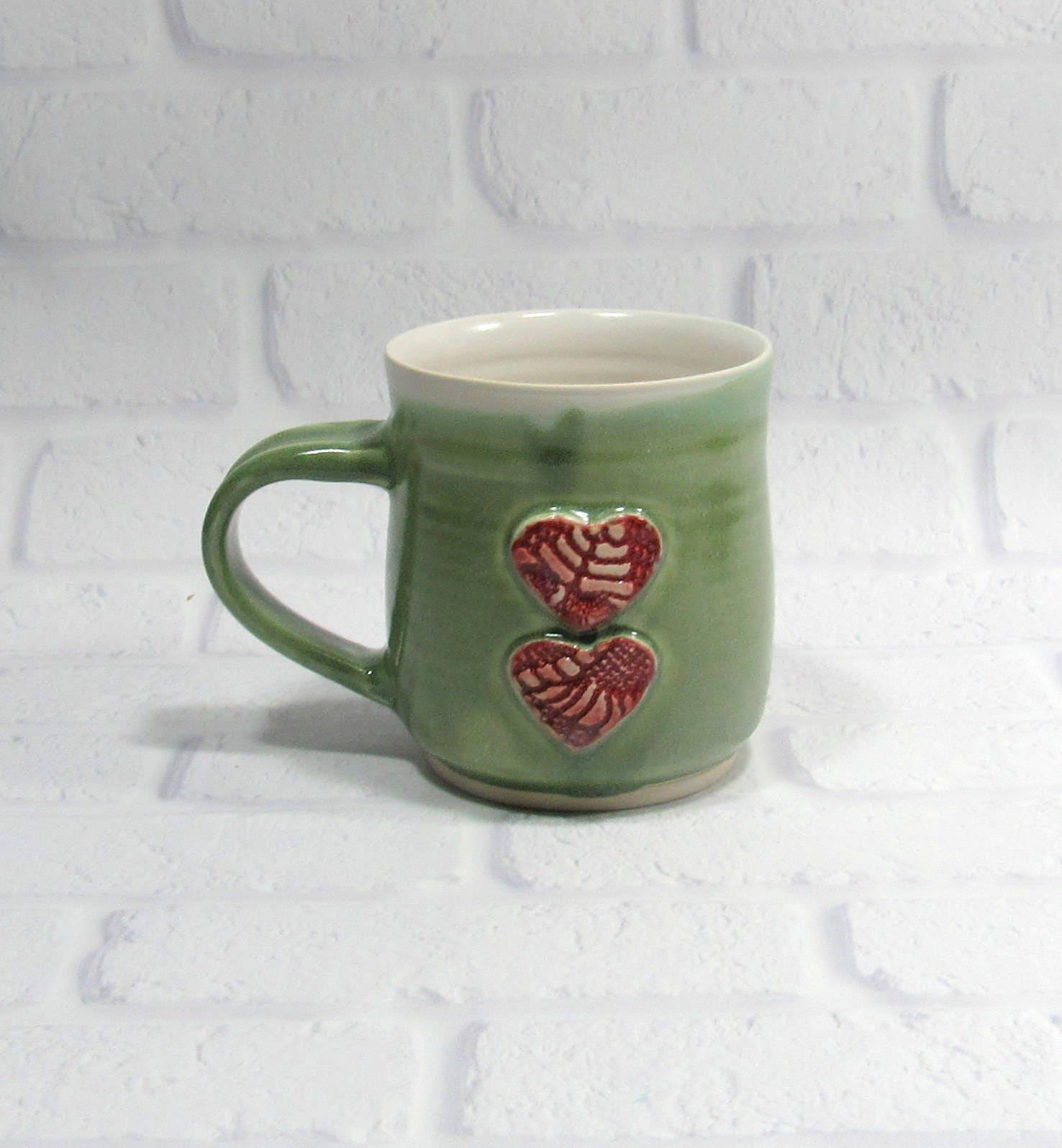 Ceramic Mug - Pottery Mug - Sweetheart Mug - Hearts Mug - Ceramic ...