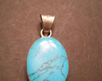 Mexican Sterling Silver Pendant Turquoise Enamel Inlay 925