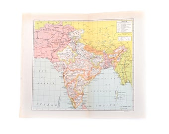 Vintage map, vintage India map, map of India, old map, India, maps, decorative map, wall decor, home decor, ephemera, atlas map