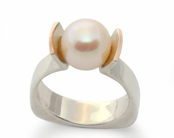 Modern pearl ring, Silver gold engagement ring, Two tones stone ring, silver gemstone ring Pearl band, big stone ring, for woman estate ring