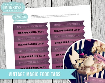 Vintage Magic Food Flags - INSTANT DOWNLOAD