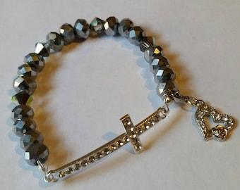 Religious Christian Jewelry Cross Heart Bracelet Religious Jewelry Christian Bling BR39