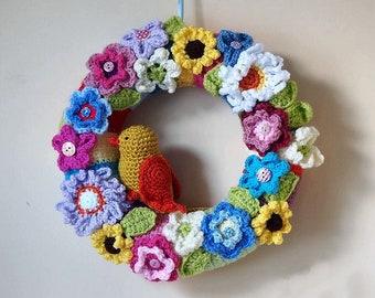 Crochet Wreath Knitted Wreath Floral Wreath Wall Decor Home Decor Colorful Wreath Crochet Flowers Summer Wreath Home Decor Handmade Wreath