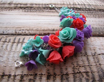 Jewelry Fashion jewelry floral jewelry Romantic jewelry Bracelet with roses adjustable bracelet Special Occasion Summer Jewelry Multicolored