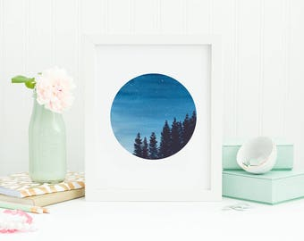 Starry night, Round  art, Blue painting, Watercolor print, Wall art, Night sky, watercolor painting, Sky painting, Watercolor Tree art