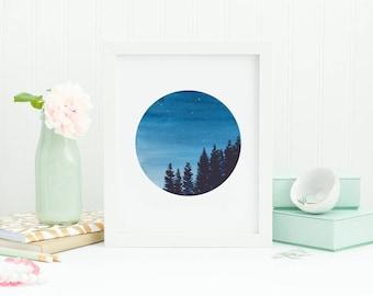 Starry night, Round  art, Blue painting, Watercolor print, Wall art, Night sky, watercolor painting, Sky painting, Watercolor Tree art