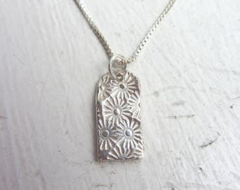"Daisy Dogtag Necklace, Dogtag Necklace, Sterling Silver Necklace, 18"" Necklace box chain,"