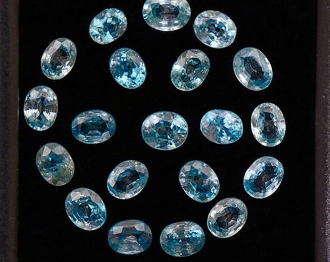 Stunning Electric Blue Zircon Gemstone Set from Cambodia 7.82 tcw.