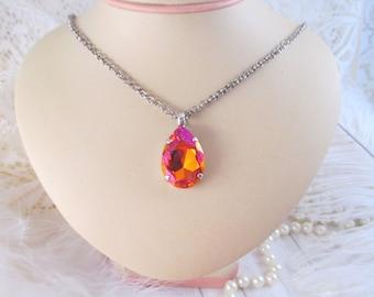 Swarovski crystal 30mm pendant necklace/Astral Pink crystal pendant/Large teardrop crystal pendant necklace/Large crystal necklace