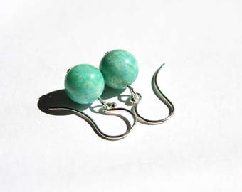 Amazonite Earrings Sterling Silver Argentium Earwire Smooth Round Simple Sea Green Natural Stone Amazonstone Minimal Earrings #17548