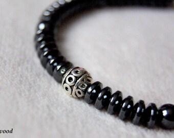Hematite and Tibetan Bead Bracelet