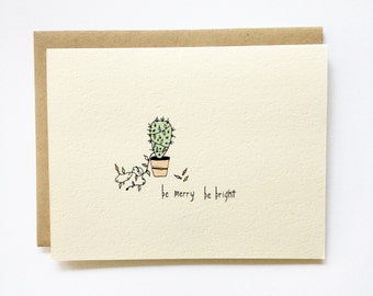 Holiday Cactus - Be Merry Be Bright - Hand Drawn Holiday Card