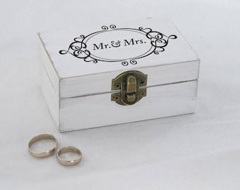 Mr. & Mrs. Wedding ring box, White Ring Bearer Box, Personalized wedding box, Custom ring box, Ring pillow, Ring Box White Ring Holder