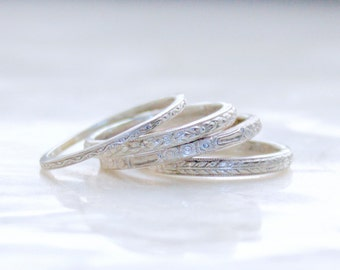 Engraved Antique Reproduction Stacking Bands in Sterling Silver in Choice of Pattern Eco Friendly Recycled Silver and Gold