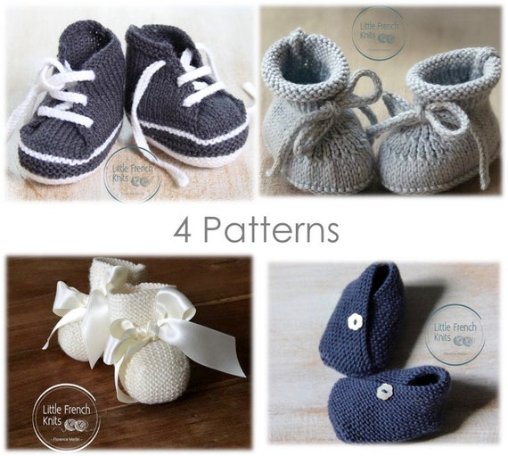 Baby Booties / Knitting Pattern Baby Instructions in English Instant Digital Download PDF / 4 knitting patterns