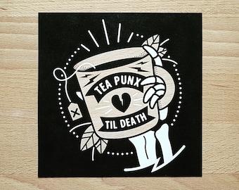 Digital Mini Print: 'Tea Punx Til Death' Skeleton Hand & Teacup