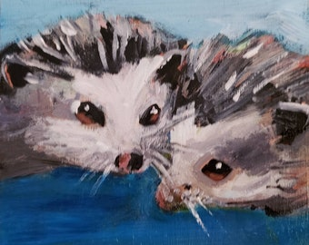 Original acrylic painting pair of hedgehogs adorable cute turquoise snuggling animals 4.5x4.5inches ready to hang colorful accent art