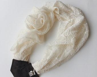 SALE Studio Love Camera Strap: ruffle flower lace scarf pro photographer dslr leather