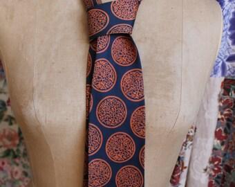 navy and rust silk tie