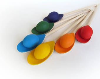 Wooden Rainbow SPOONS EGGS - Spoon Small Egg Balancing Game - 6 Easter eggs & spoons - Play Food - Waldorf - Toddler Toy - Natural Toy