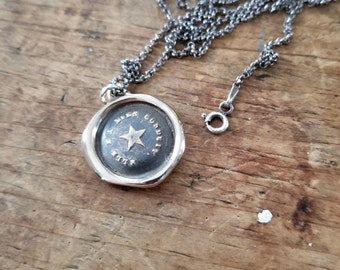 Follow Your Star Necklace - Bronze Antique Wax Seal Necklace - 258