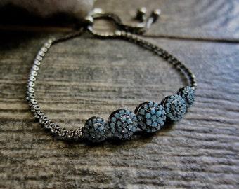 Pave Bracelet,Crystal Pave,Blue Pave Bracelet,Stacking Bracelet,Pavé Adjustable Bracelet,Blue bracelet,Gift for Women,,Womens Bracelet,Boho
