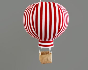 Hot Air Balloon Decor in Red Stripe - Travel Baby Shower Decorations