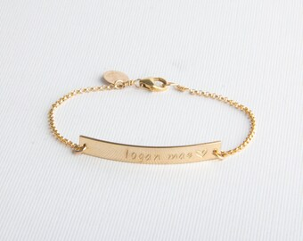 Skinny Bar Bracelet, Personalized, Name Bracelet, Gold Filled, Sterling Silver, Rose Gold Filled