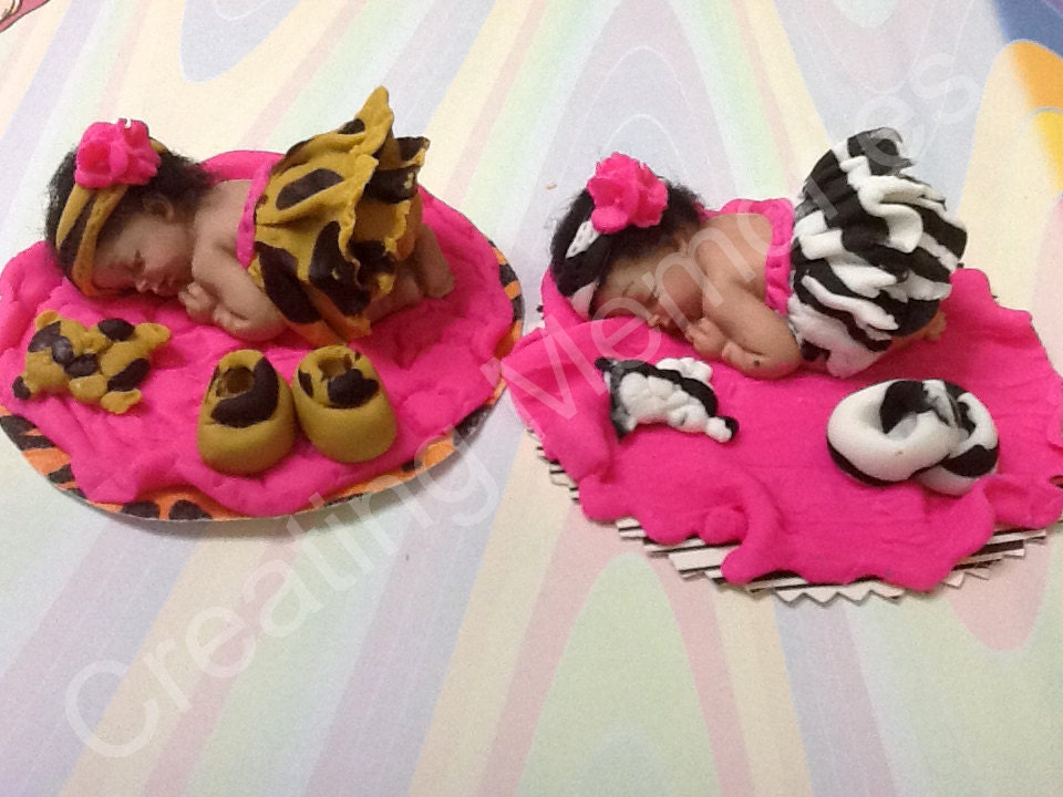 Twin Babies In A Cheetah And Zebra Print Tutuedible Cake