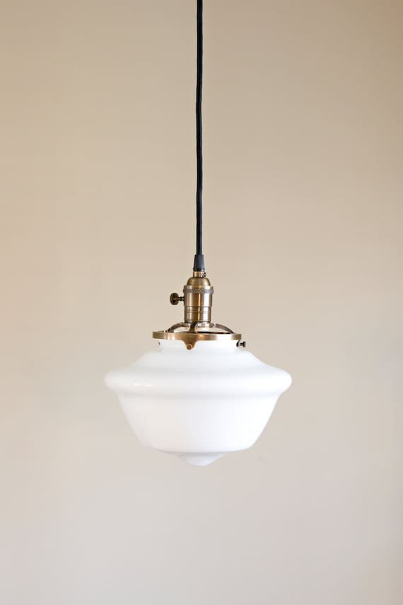 schoolhouse pendant light schoolhouse pendant light fixture tapered white glass shade 28850