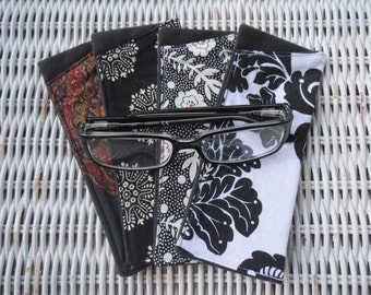Black & White Fabric Eyeglasses Cases in Kelly Greens, Reading Glasses Pouch, Reader's Pouch, Gift for Grandma, Aunt, Uncle, Sister, Mother