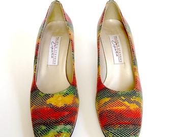 Vintage Mulitcolor Snakeskin Leather Heels - pumps, high heels, chunky heel