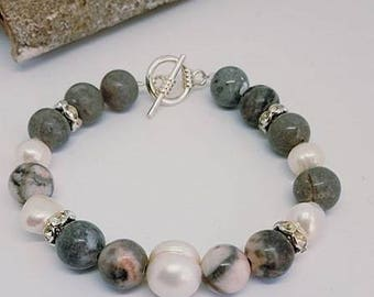 Handmade,  Mother's day gift, gifts for her. Pink Jasper and freshwater pearl bracelet