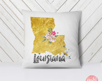 US State Louisiana Map Outline Floral Design - Throw Pillow Case, Pillow Cover, Home Decor - TPC1221