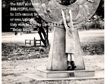 Black and White Photography - Tippy-Toes - 8x8 Fine Art Photo, Sepia, Girl, Statue, Hide and Seek, Typography, Inspirational, Black White