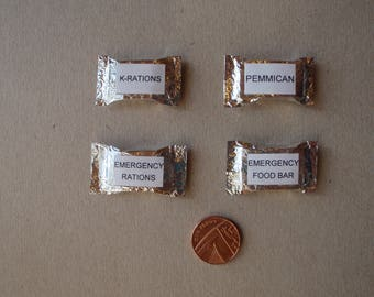 1/6th scale, or playscale, miniature ration packs (x4).