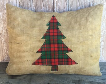 Burlap Christmas Tree Pillow Cover 12x16, 16x16 or 18x18