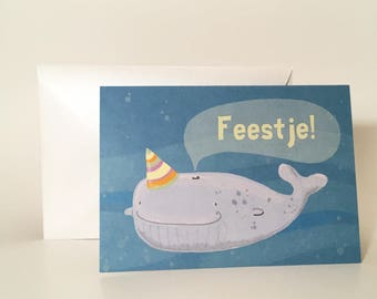 """Greeting card """"Whale Party"""""""