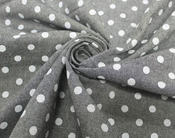 Black Polka Dot  58'' Chambray Cotton Fabric by the Yard - Style 3270