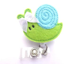 SALE - Badge Holder Retractable - Snail - lime green and aqua badge reel - nurse badge reel medical staff student nurse teacher