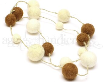 Felt Beads Necklace * Felt Jewellery * Felted Necklace * Toffee-White-Cream
