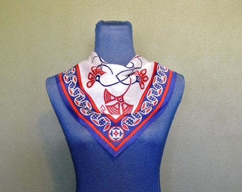 Vintage Paoli Acetate Scarf, Red, White, and Blue