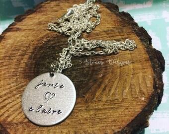 Monogrammed Necklace, Name Necklace, Handstamped Necklace, Minimalist Necklace, Dainty, Handstamped, Anniversary Necklace