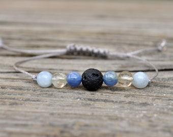 Aries Zodic Lava Bracelet, Aries Energy, Kyanite Bracelet, Citrine Bracelet, Aquamarine Bracelet, Energy Bracelet, Diffuser Bracelet