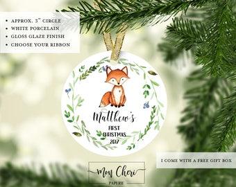 Baby First Christmas Baby Fox Christmas Ornament | Newborn Ornament | New Child Ornament |Christmas Gift New Mom Christmas Gift New Parents