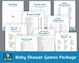 Baby Shower Games Package, Printable Party Games Bundle, Baby Shower Games Set Download, Under the Sea, Ocean, Unique Games Pack, SPKG, B005
