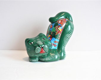 Vintage Mexican Tonala  Painted Terra Cotta Cat Figurine - Art - Green Colorful Cat