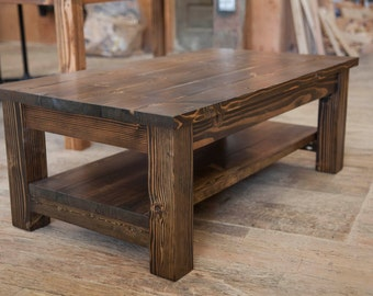 Farmhouse Coffee Table   Rustic Coffee Table   Solid Wood Farmhouse Coffee Table   Built to Order