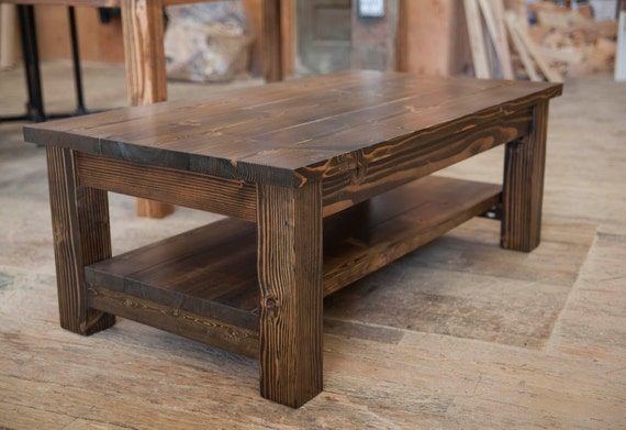 Farmhouse coffee table rustic coffee table solid wood for Solid wood farm table